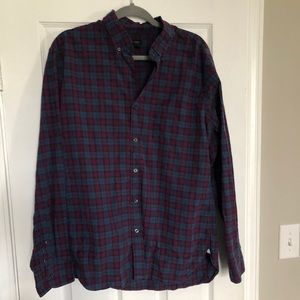 JCrew Plum and Blue check button down